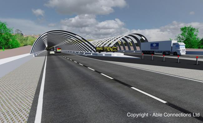 Computer generated artist's impression of the fixed link tunnel at Whippingham.