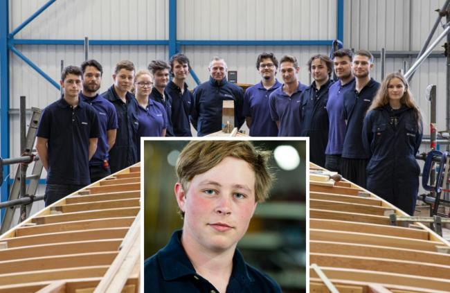 Bethon Boat Company are providing industry-leading  apprenticeships and (inset)  Aidan Hinchcliffe won the Lady Hamlyn Award in 2020