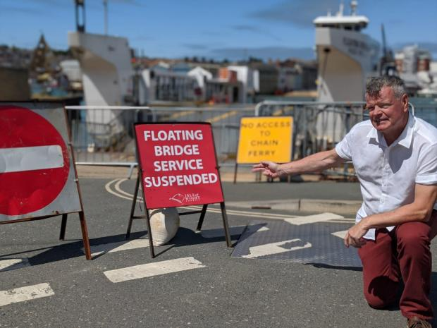 Isle of Wight County Press: East Cowes town councillor Karl Love at the town's floating bridge landing stage