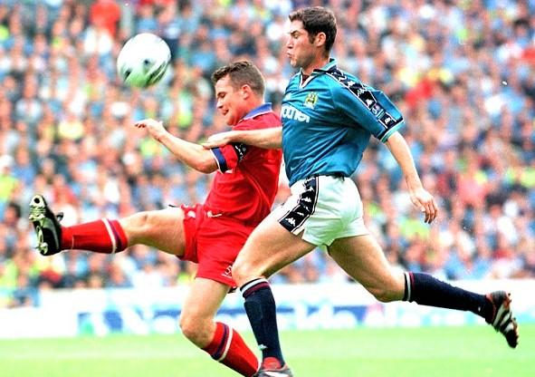 Lee Bradbury in action for Manchester City after they paid £3.5 million for him — a transfer record for the club at that time.