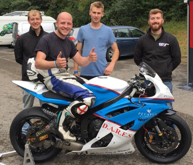 Ryan Whitehall, of Whitwell, on his bike, with his race team, is to to enter the Diamond Races next year.