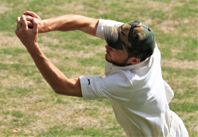 Newport's Scott Wheeler takes a flying catch in the All Island Division A match against Ventnor at Steephill on Saturday.  Photo: Dave Reynolds