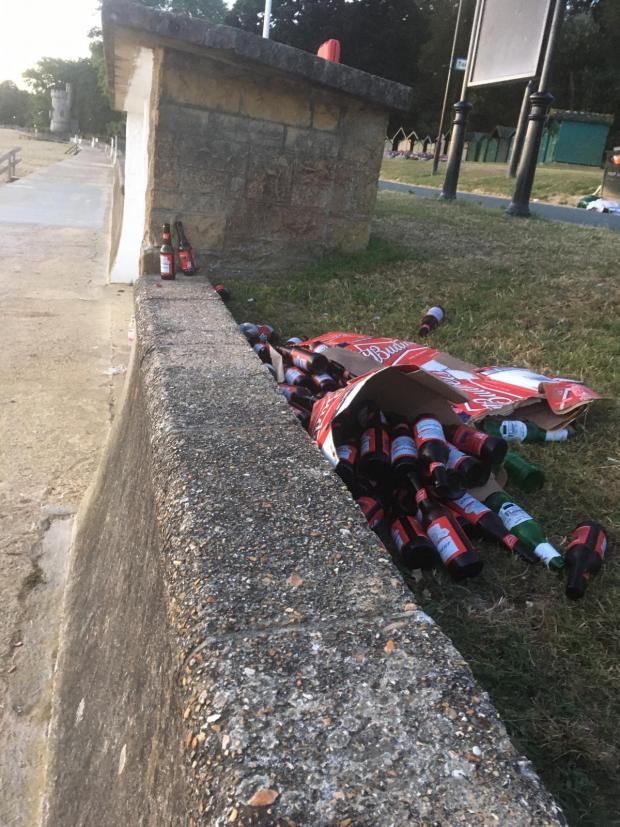 Isle of Wight County Press: A bag of beer bottles dumped at Ryde.