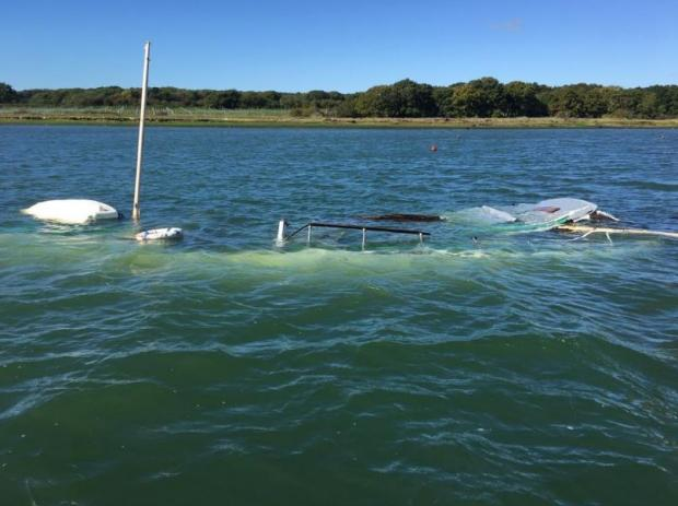 Isle of Wight County Press: The yacht was underwater near The Folly Inn