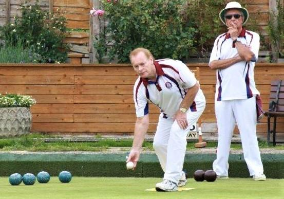 Philip Carter delivers the jack in the Woodstock men's singles final at Totland Bay Bowls Club.