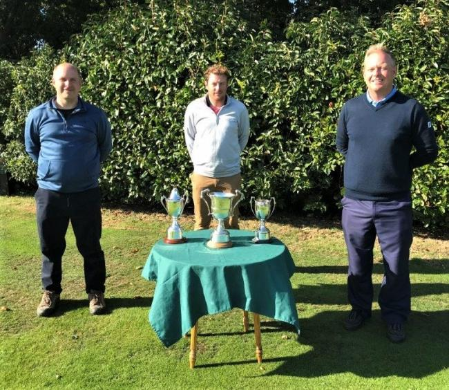 IWGU Island Championship winners 2020, from left: Paul Spreadbury, the 36-hole handicap winner, Nat Riddett, who won the  McMaster Challenge Cup, and George Foreman, who won the 36-hole scratch.