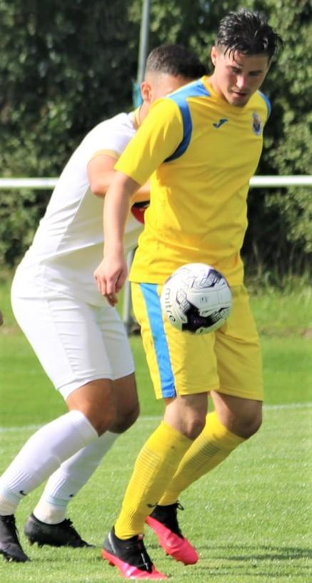 Isle of Wight County Press: Jordan Browne was on the scoresheet again with Newport's third against Fawley. Photo: Graham Brown