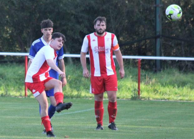 Isle of Wight County Press: New East Cowes Vics signing, Aeden Coode, from Cowes Sports, had a good debut against Andover Town. Photo: Graham Brown
