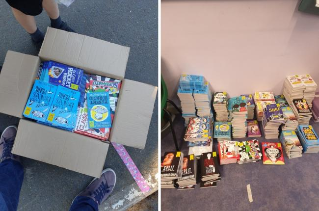 Some of the selection of books donated to schools by Waterstones in Newport