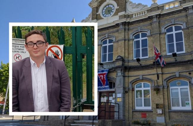 East Cowes town hall and (inset): Cameron Palin, from social media