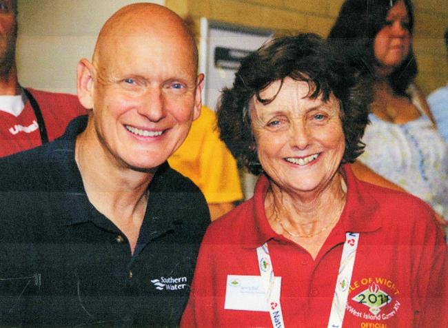 Jenny Ball with British Olympic swimmer, Duncan Goodhew.