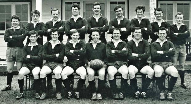 Isle of Wight County Press: David Ball, with ball, was an important part of the 1968-69 Isle of Wight RFU team.