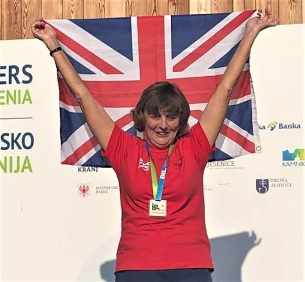 Isle of Wight County Press: Jenny Ball after winning 3,000m gold at the European Masters Open Water Championships in Slovenia.