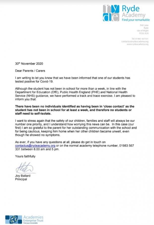 Isle of Wight County Press: The letter sent to parents and carers earlier today
