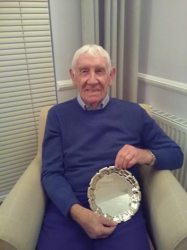 John Bell with his silver salver medal.