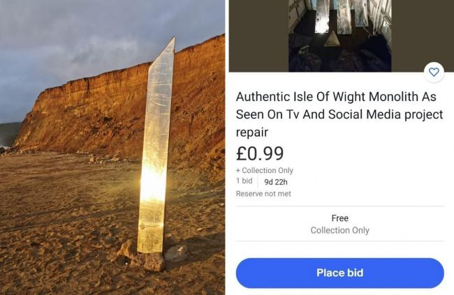 Left, the monolith in all its glory, pictured by Paul Blackley. Right, the monolith for sale on ebay.