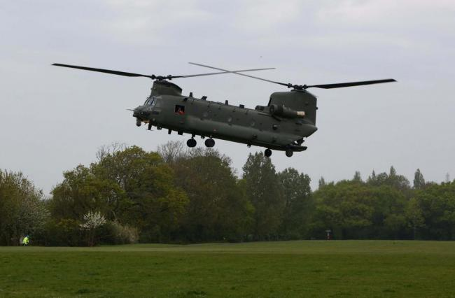 Photos of a chinook landing at Seaclose Park in April 2020, as part of an exercise