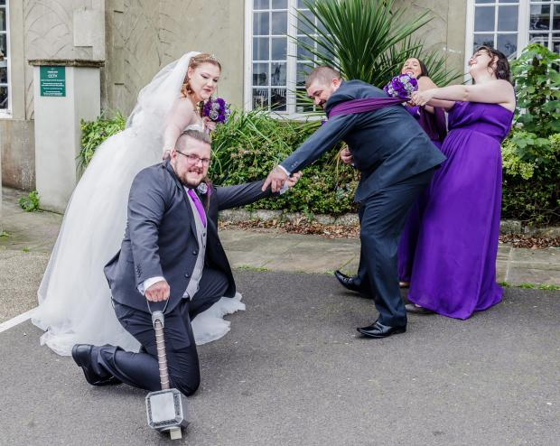 Isle of Wight County Press: The groom being torn between his wife, his best friend and his hammer