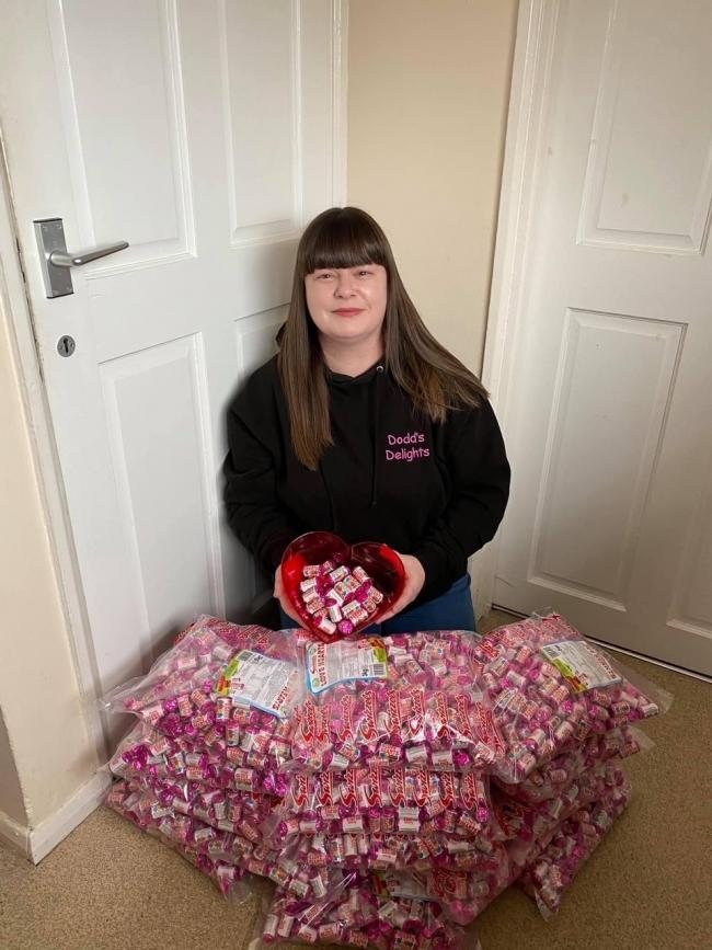 Lisa Dodd of Dodd's Delights with a batch of chocolates destined for the hospital.