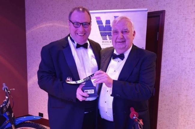 Barry Bishop (left) and Martin Widman in happier times receiving the World Speedway Riders Association award for Community Club of the Year.