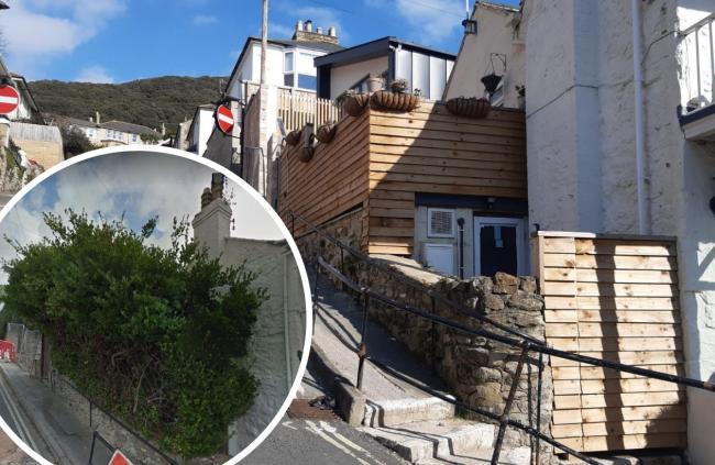 Before (inset) and after work to the boundary of the Ventnor High Street property.