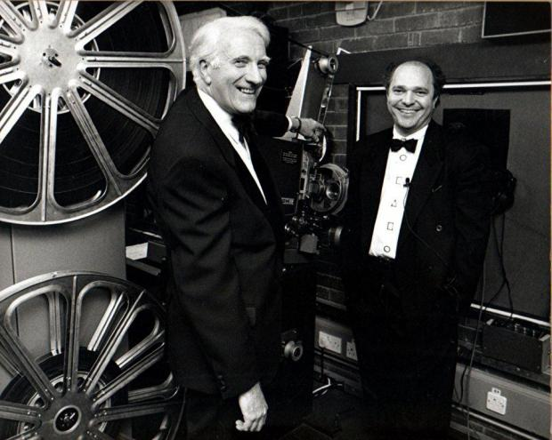 Isle of Wight County Press: Anthony Minghella and Bob Ennis taken in the projection room at Medina Theatre at the premiere of Mr Wonderful in 1993