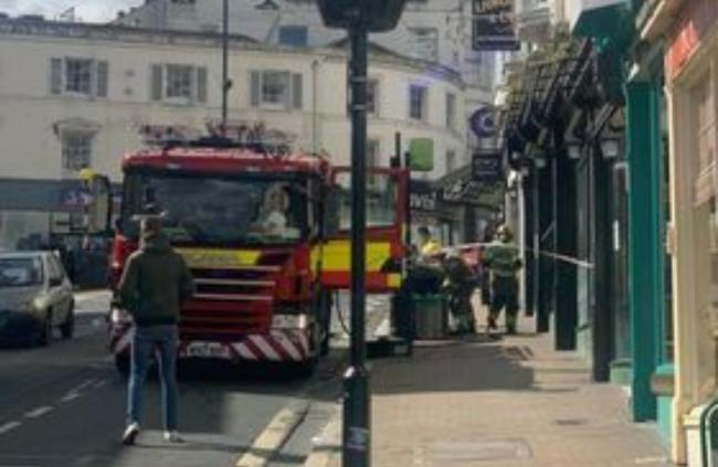 Firefighters outside Wetherspoons in Ryde. Picture by Liv Stanley.