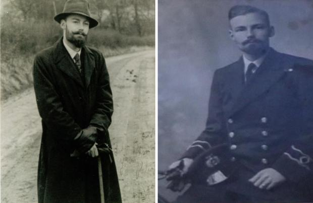 Isle of Wight County Press: Peter Lansley in his 20s (left) and in Merchant Navy Officer uniform as a Radio Officer (right)