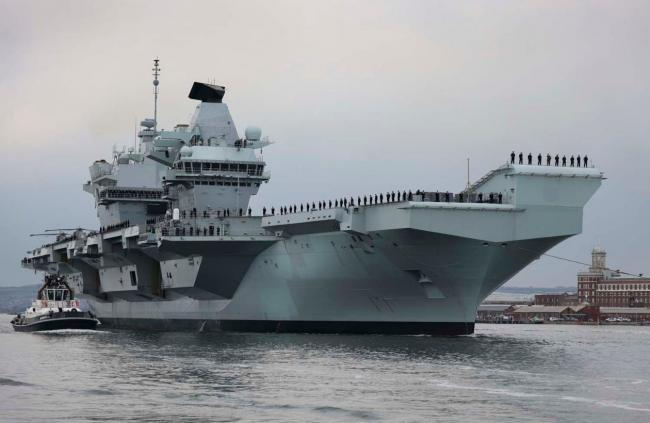 Aircraft carrier HMS Queen Elizabeth has set sail from Portsmouth. Picture: Royal Navy.