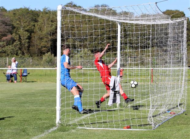 Isle of Wight County Press: Barry Calvert scores for Brading.