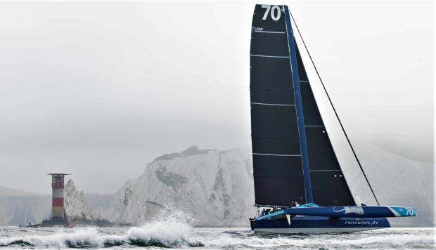 Isle of Wight County Press: PowerPlay in action near The Needles. Photo: Paul Wyeth