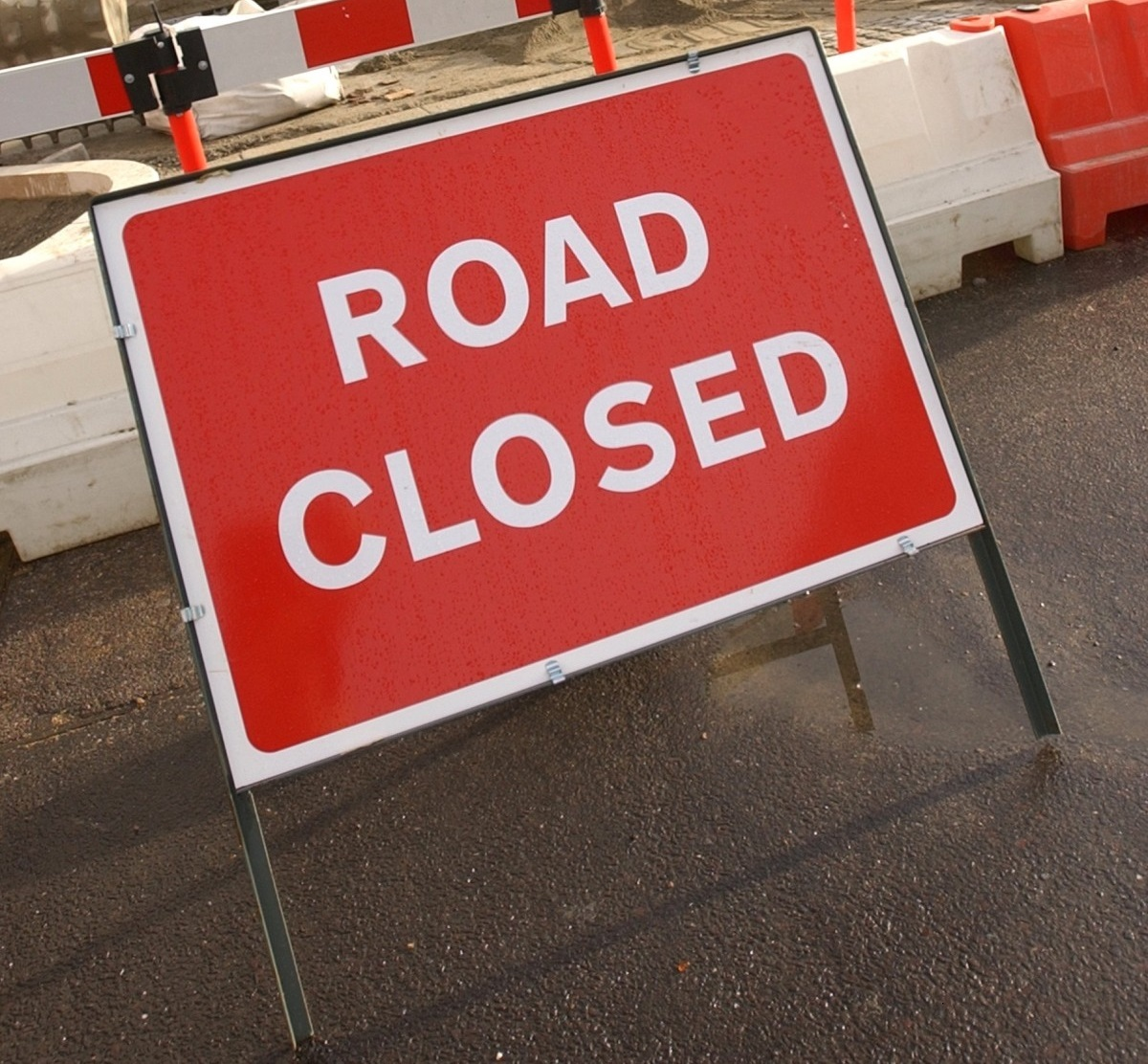 Road closure in Shanklin