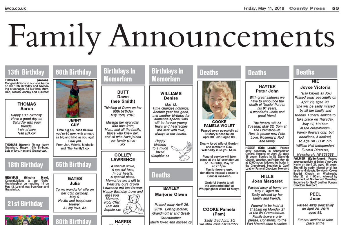 Family Announcements - Isle of Wight County Press, May 11