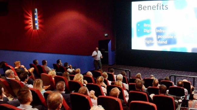 WightFibre chief executive John Irvine giving an update on the Gigabit Island project at Cineworld.