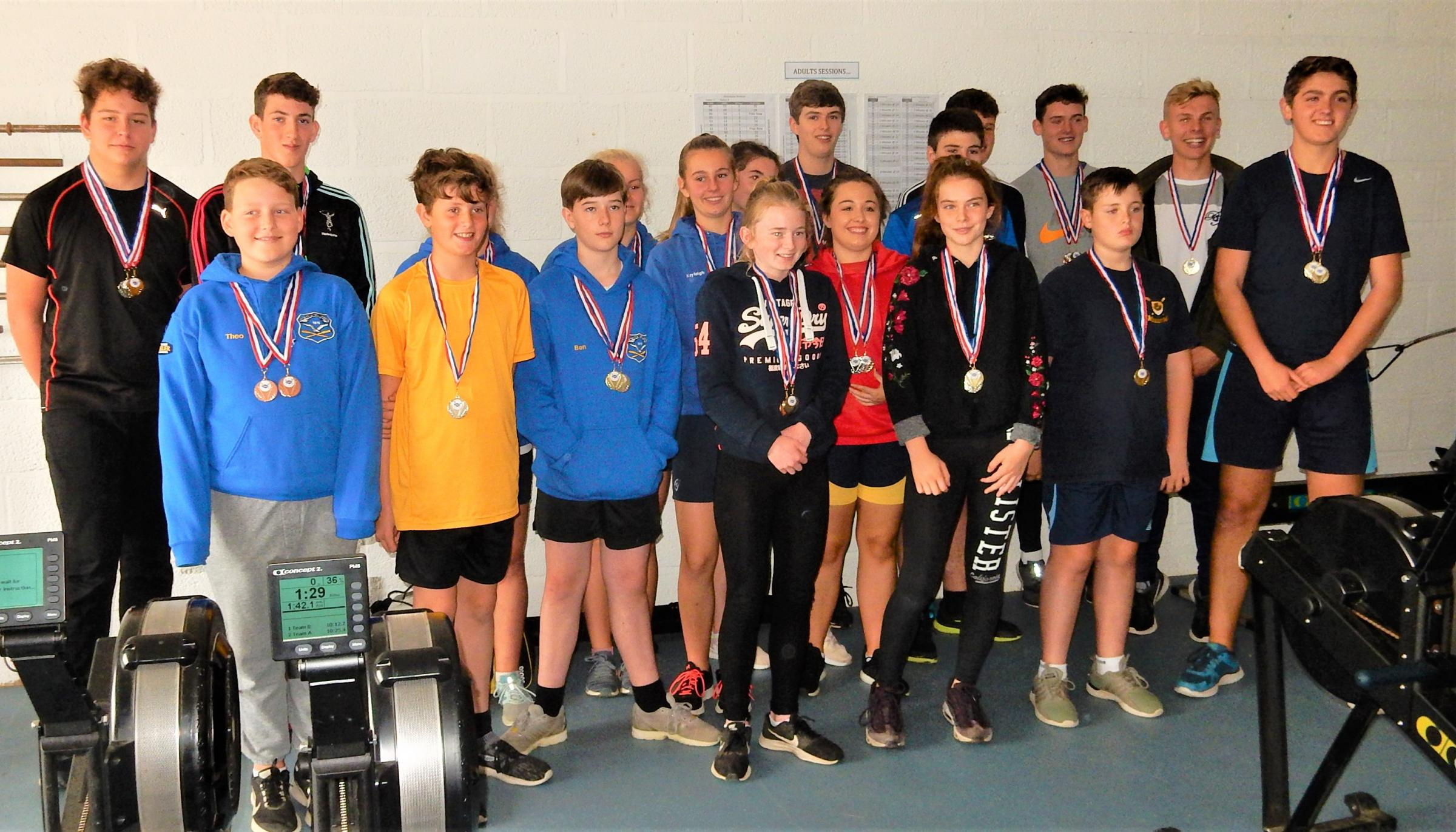 All the competitors who took part in the IW Rowing Forum Junior Indoor Rowing Competition, held at Shanklin Sandown Rowing Club on Sunday.