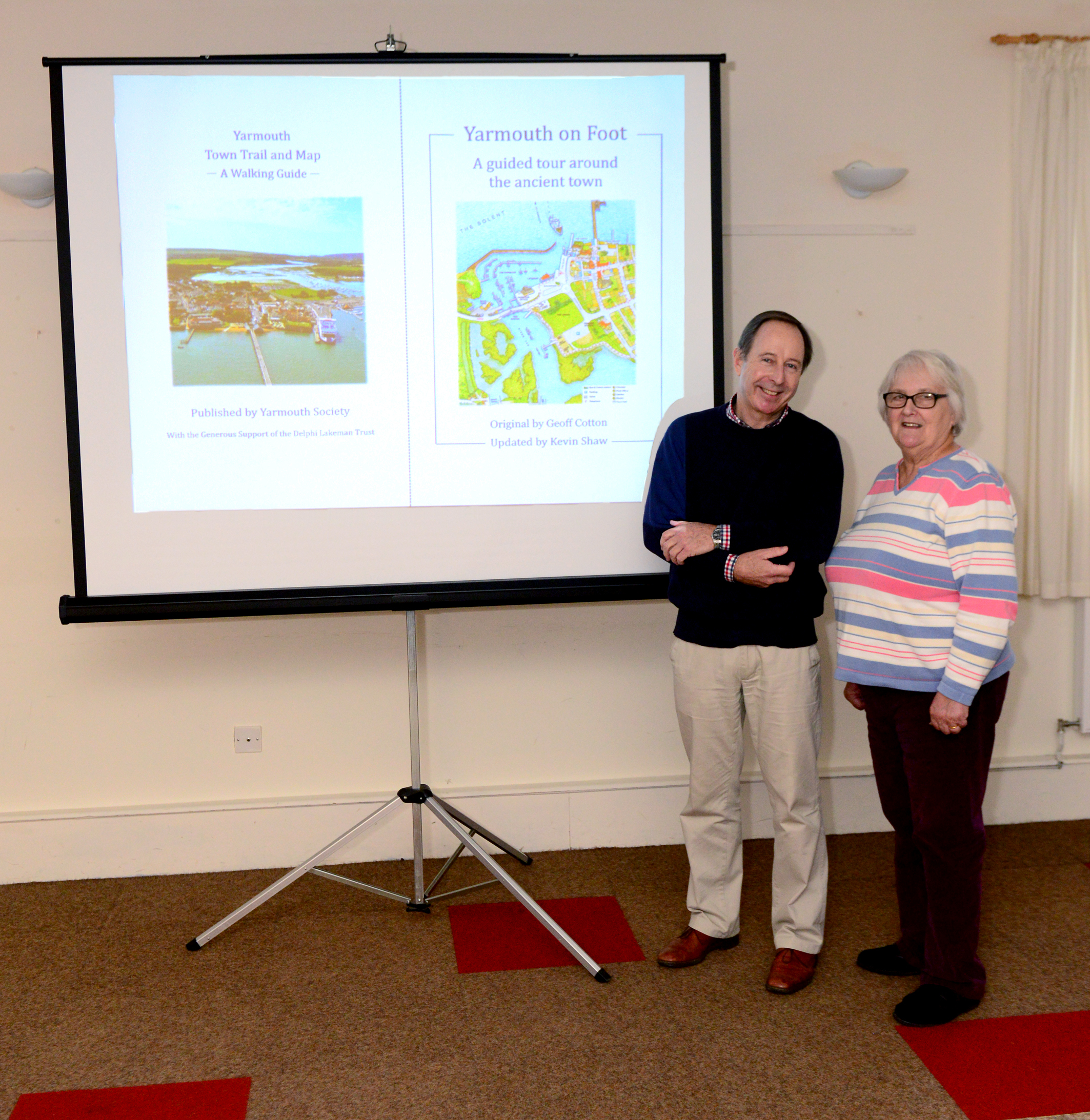 Yarmouth Society launching their updated Yarmouth Heritage Trail booklet. Left, Kevin Shaw with Fran Chard.