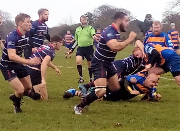 Action between Sandown and Shanklin (in blue) and Gosport and Fareham II.  Photo: Sandown & Shanklin RFC