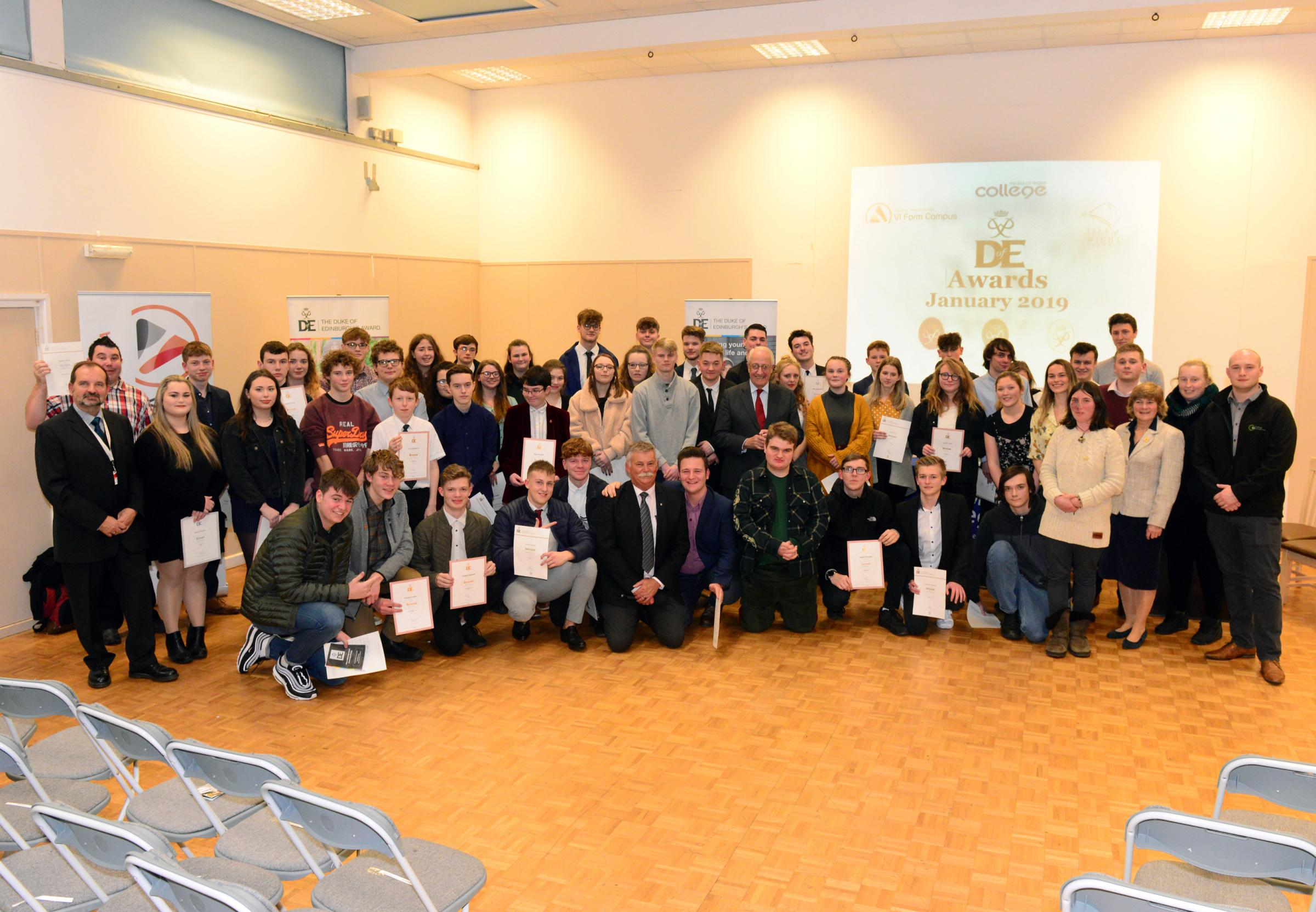 Duke of Edinburgh Awards Evening - Award winners and tutors.