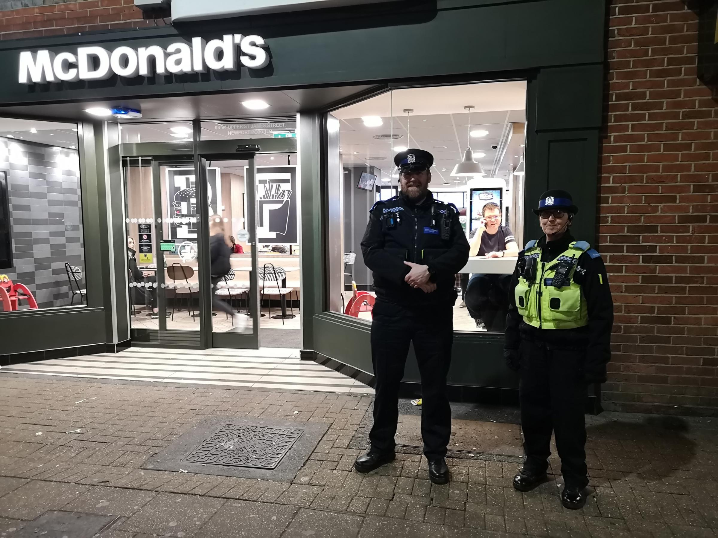 Operation Varney PCSOs Matt Wheeler and Jo Vincent White outside McDonalds. Picture by Imogen Tew.