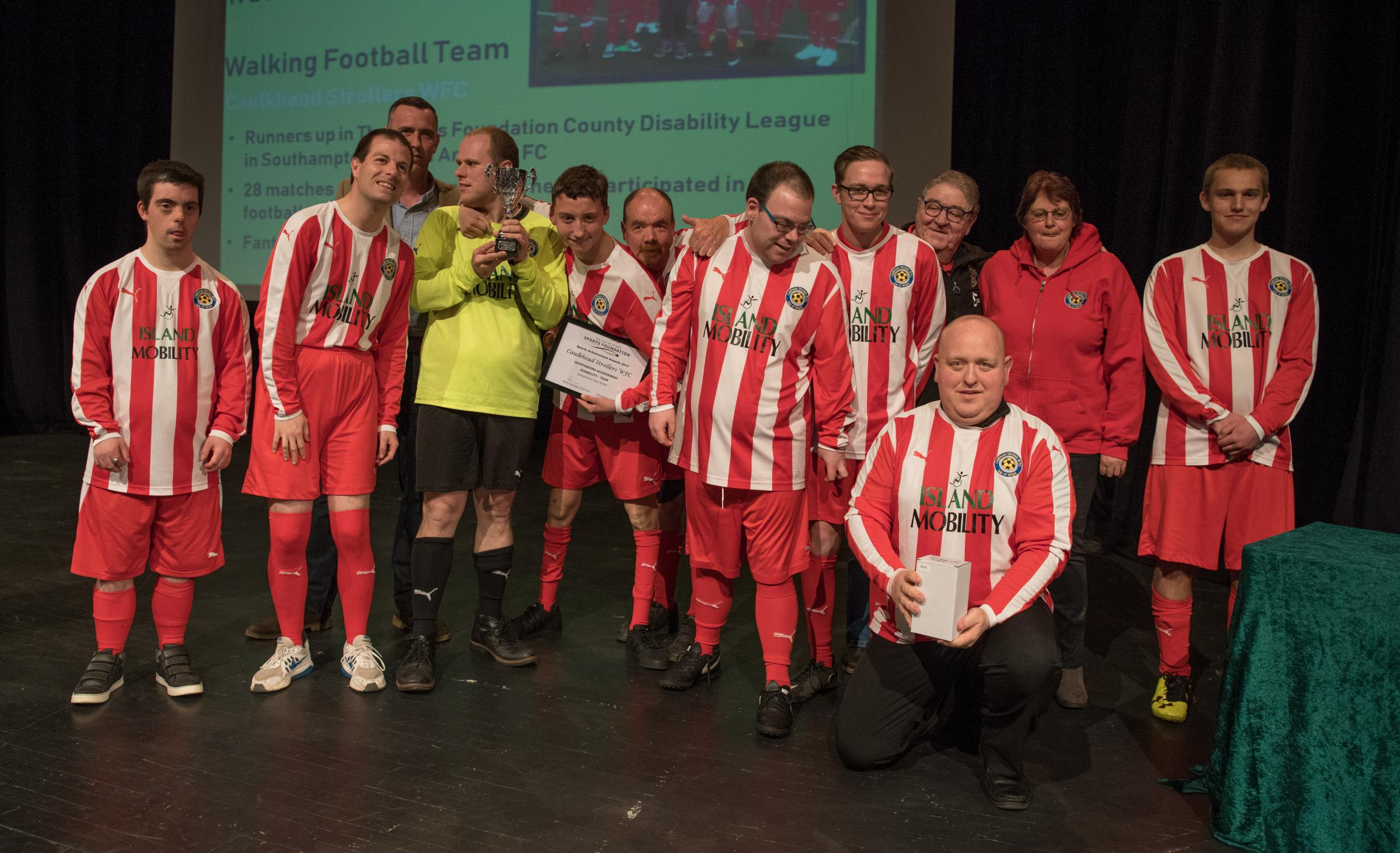 Sports Achievement Awards 2017 winners of the Disability Team Award, the Caulkhead Strollers Disabled Football Team, at Medina Theatre, Newport, last year.  FILE