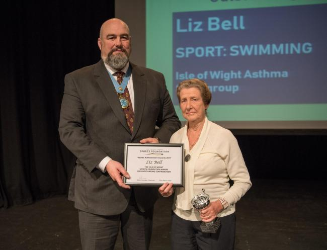 Liz Bell receiving an accolade at the 2017 Isle of Wight Sports Achievement Awards held last year.  FILE