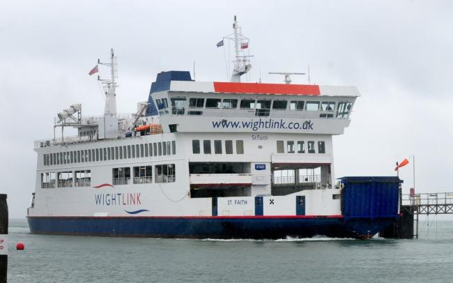 FishbourneWightLink's St Faith car ferry coming into port.