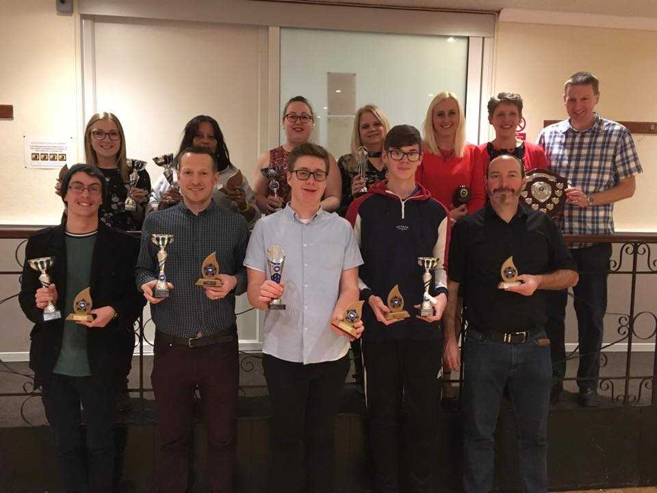 Wight Diamonds Marching Band's awards night. Back, from left, Denise Tizard, Ilona Rayner, Sheonagh Woodford, Nikki Sheard, Tracy Cheverton, Ali Downer, Kev Downer. Front, Billy Halsey, Andy Hallam, Matt Cheverton, Jamie Buckett, Nigel Cheverton