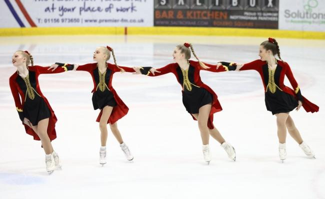 Members of the Wight Crystals in action at the National Synchronised Skating Championships in Nottingham.