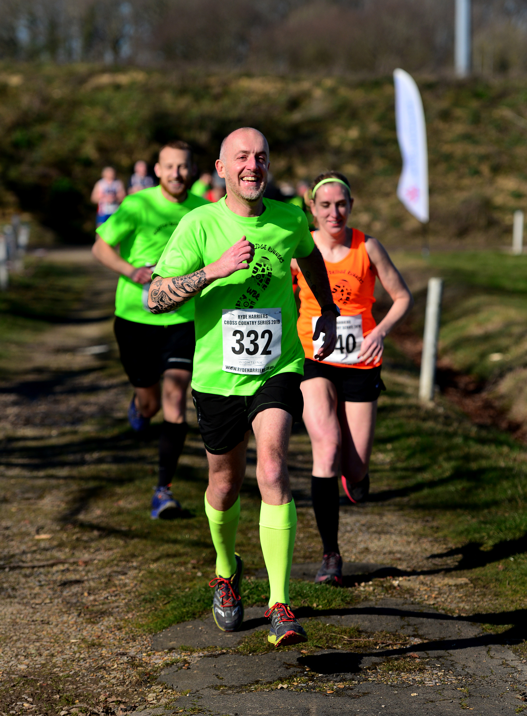 Craig Robins (front) with Claire Alchin and Terry Hardy in this year's Arthur Biggs Memorial Handicap race at Smallbrook, Ashey, on Sunday.  Photos: Robin Crossley