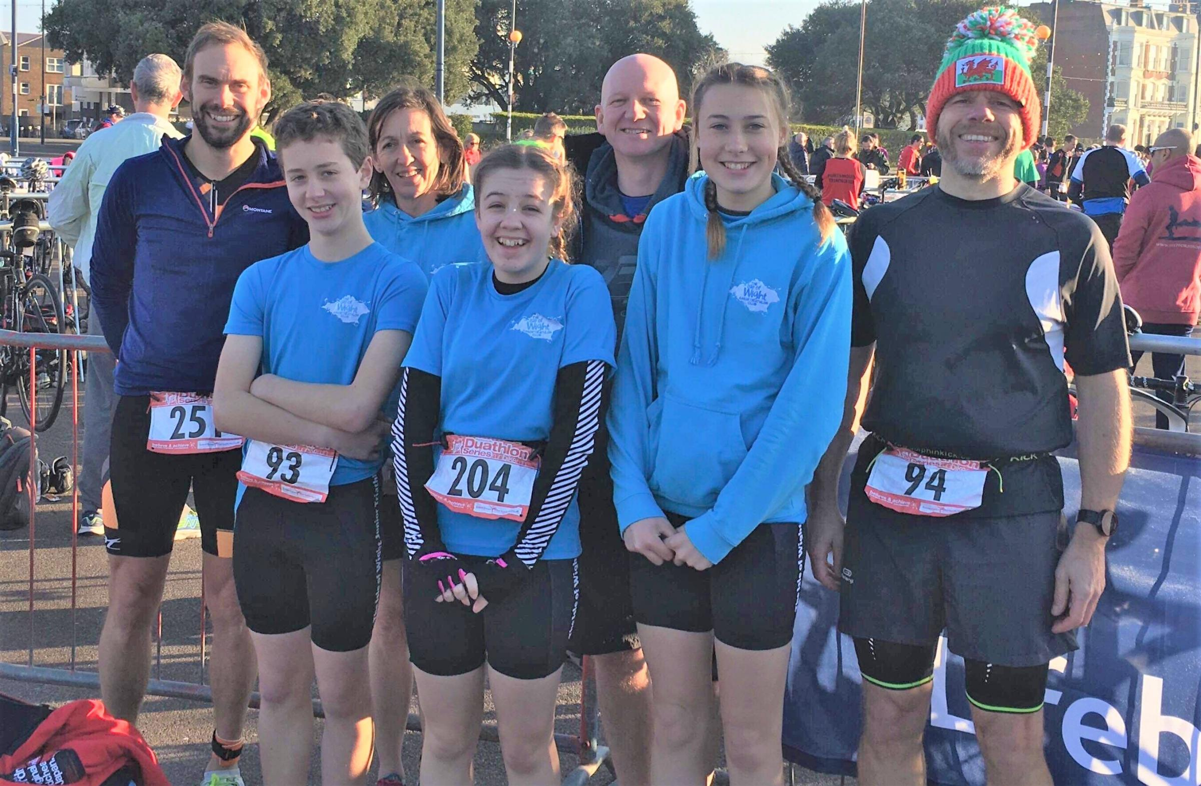 Members of the Isle of Wight Triathlon Club who took part in the Portsmouth Duathlon — coaches Simon Pilcher, Julie Van der Helstraete, John Hepworth and Rob Holbrook, with young athletes Gethin Hepworth, Lottie-Rose Van der Helstraete and Millie Willia