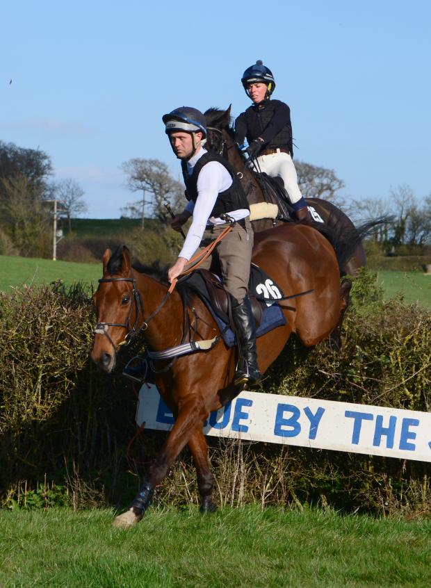 Isle of Wight County Press: Del Laverty on Richards Sundance (jumping first), which suffered an injury and was destroyed. The other rider is Hannah Benson, on Royal Star IV.