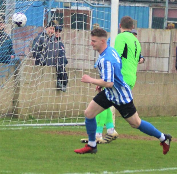 Isle of Wight County Press: Substitute Jimmy Wykes makes in 3-0 with a simple finish near the end. Photo: Graham Brown