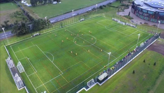 A typical 3G artificial football pitch — the type Cowes Enterprise College will have ready to play on come September.  Photo: Labosport
