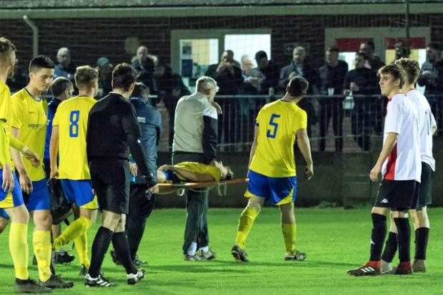 Isle of Wight County Press: Newport's Jacob Reynolds was stretchered off with an ankle injury in the first half.